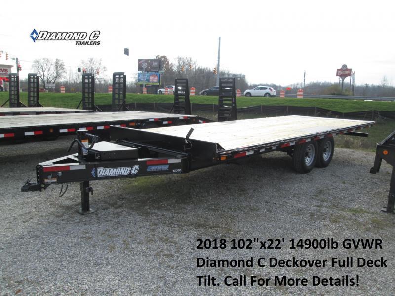 "2018 102""x22' 14900lb GVWR Diamond C Deckover Full Deck Tilt. 93752"