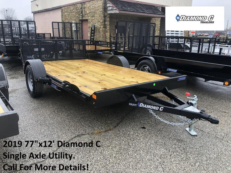 "2019 77""x12' Diamond C Single Axle Utility. 08921"