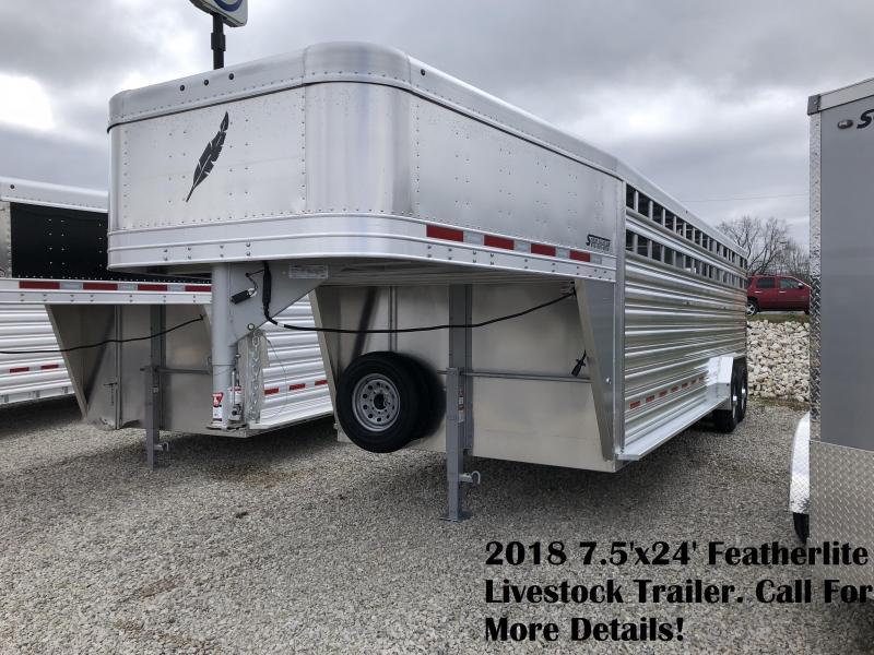 2018 7.5'x24' Featherlite Livestock Trailer. 148863