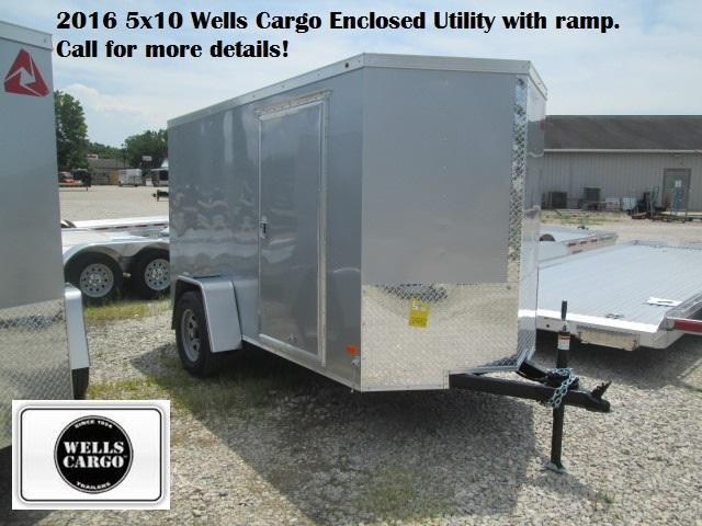 2016 5x10 Wells Cargo Enclosed Utility with ramp (silver). 27237