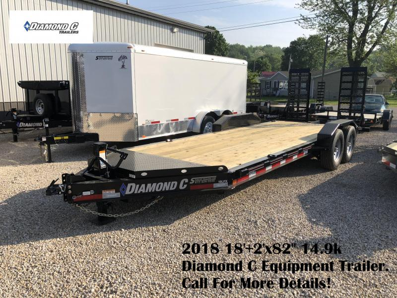 "2018 18'+2'x82"" 14.9k Diamond C Equipment Trailer. 00834"