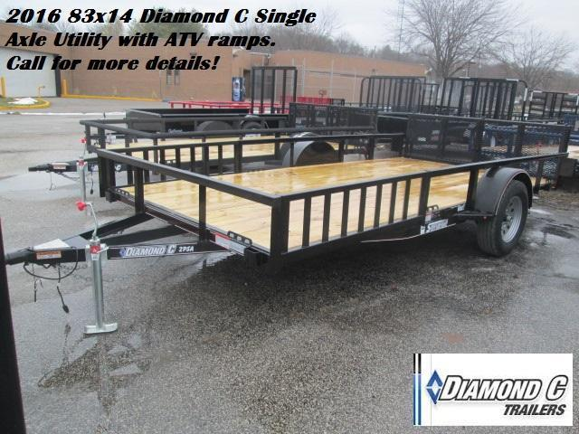 2016 83x14 Diamond C Single Axle Utility with ATV ramps. 73406