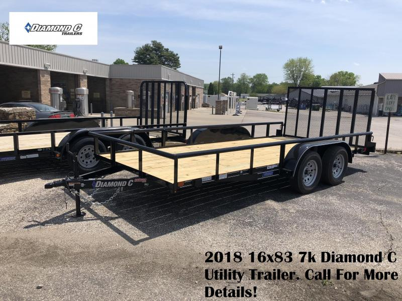 "2018 16'x83"" 7k Diamond C Utility Trailer. 01214"