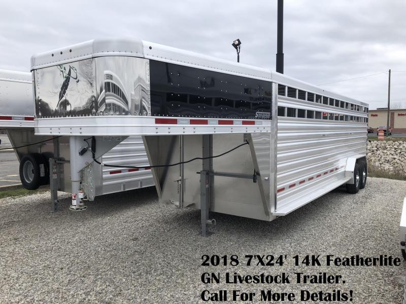 2018 7'X24' 14K Featherlite GN Livestock Trailer. 148549