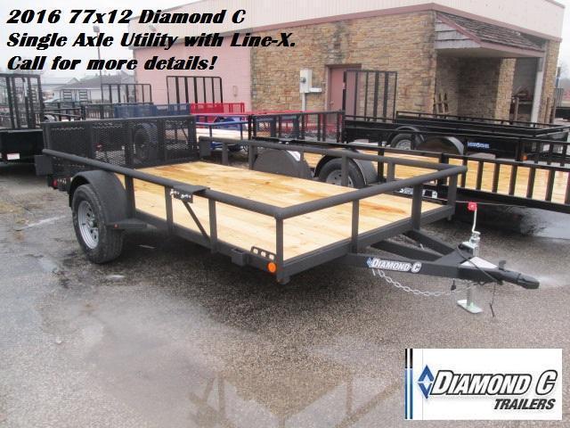 2016 77x12 Diamond C Single Axle Utility with Line-X. 73405