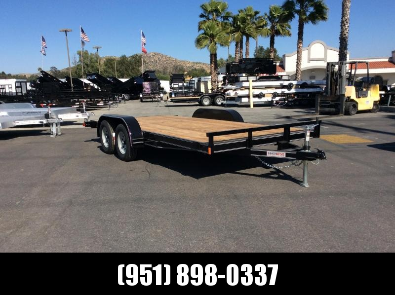 2019 Innovative Trailer Mfg. Economy Wood Car Hauler 83 x 16 Tandem Axle Flatbed Trailer