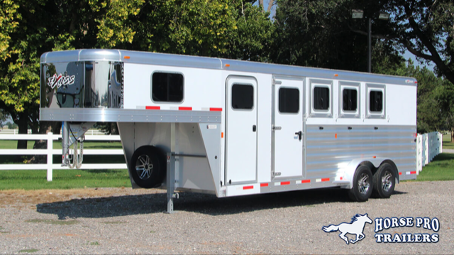 2019 Exiss 7400 4 Horse Slant Load Gooseneck w/POLYLAST FLOOR & INSULATED ROOF!