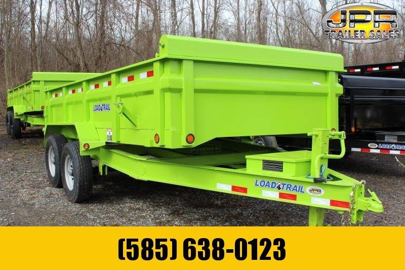 """2019 Load Trail 7X14 Dump Trailer 14K with 24"""" Sides -Safety Green"""