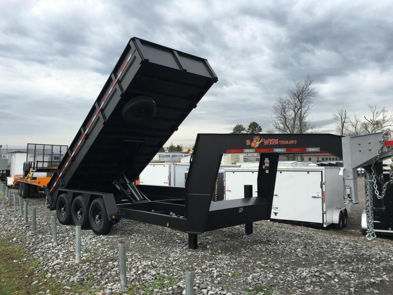 2016 B-Wise 7 x 18 Goose Neck Dump 21000 GVWR Dump Trailer