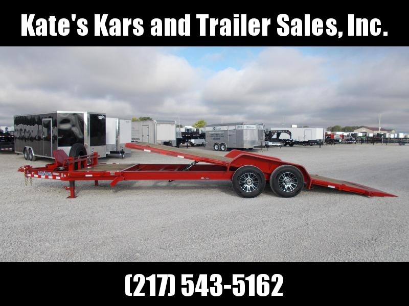 2019 Load Trail 83X24 RED 20 power Tilt + 4' Stationary Equipment Trailer