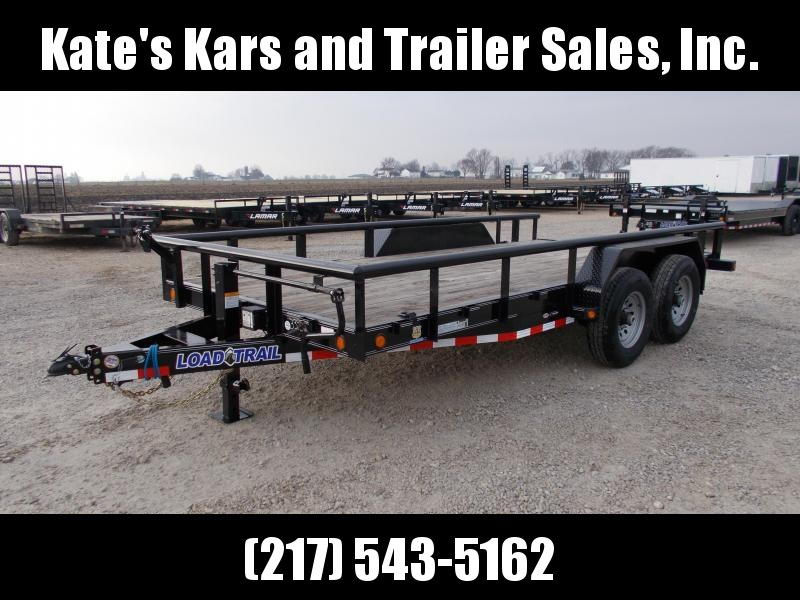 2020 Load Trail 83X18' Pipe Top Rails Rear Slide out ramps 14K Equipment Trailer