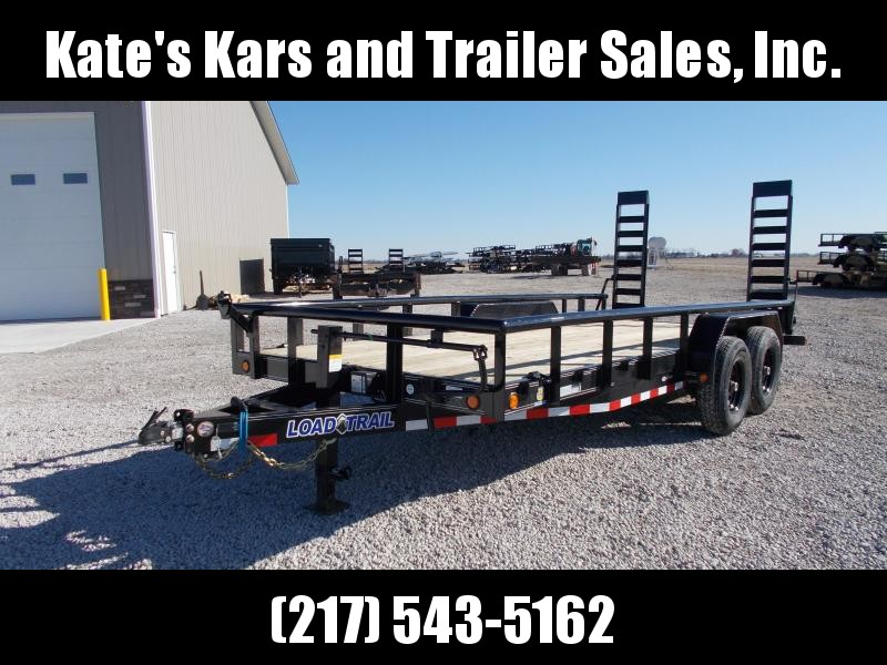 2020 Load Trail 83X18 Pipe Top Side Rails Fold Up Ramps 14K GVWR Equipment Trailer