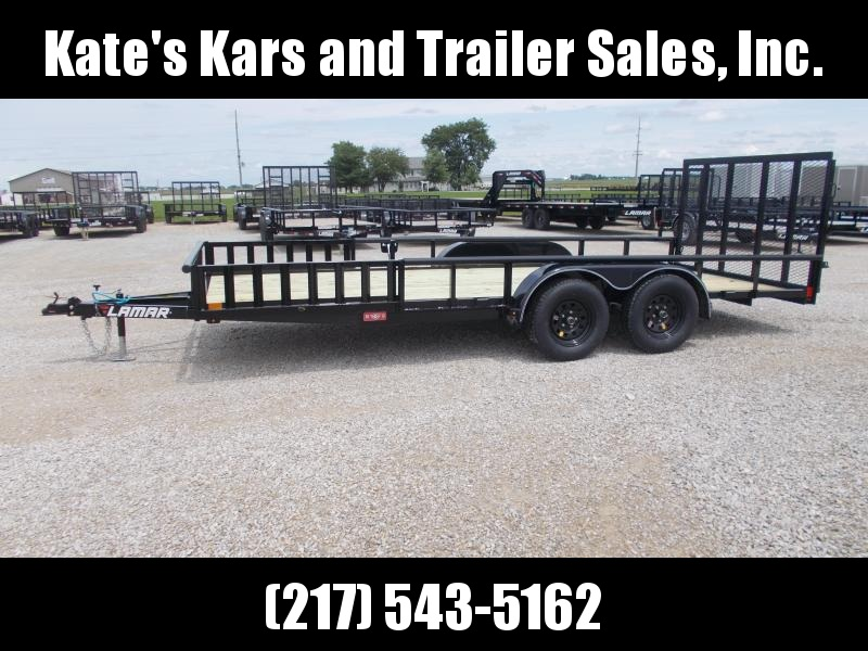 83X18' Utility Trailer w/ ATV Side Ramps Lamar Trailers Spring Assist Gate