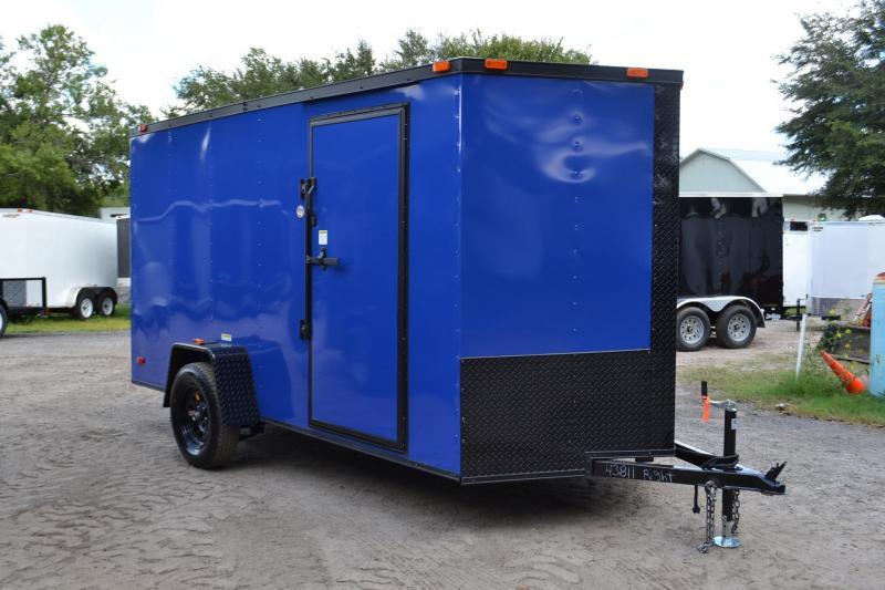 6x12 Red Hot Trailers | Enclosed Trailer [Chevron Blue with Blackout]