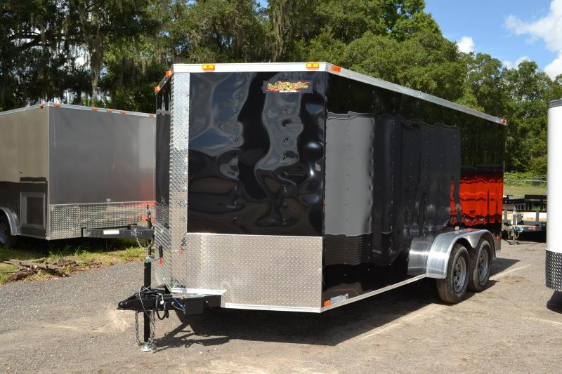 7x16 Black Red Hot Trailers | Enclosed Trailers