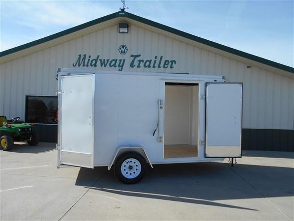 Interstate 6X12 Barn Doors Enclosed Cargo Trailer-White