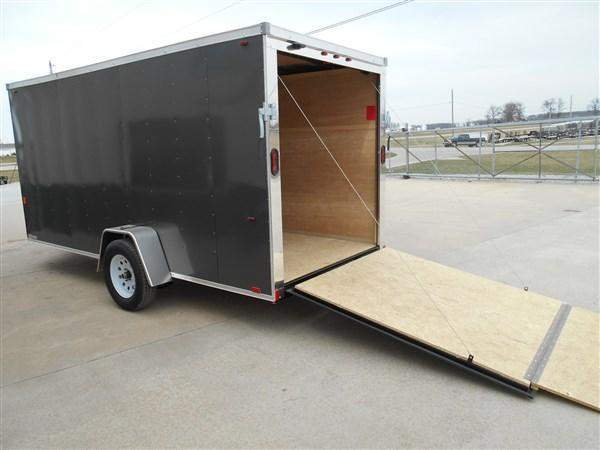 Interstate 6X14 V-Nose Enclosed Cargo Trailer- Charcoal