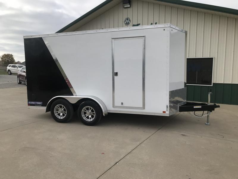 2019 Sure-trac 7 X 14 White/black Two Tone Enclosed 7k