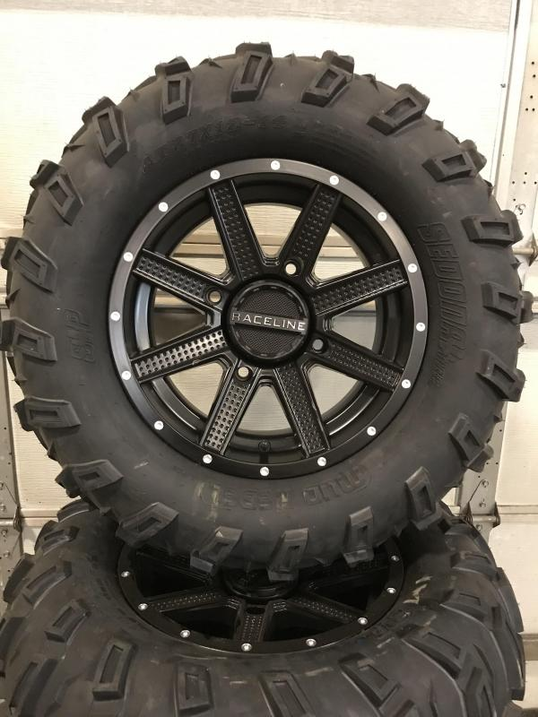 SET OF 4 SEDONA MUD REBEL TIRES ON RACELINE HOSTAGE WHEELS (0025) $749 (CURRENTLY OUT OF STOCK BUT CAN STILL BE ORDERED)