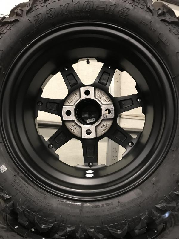 Set of 4 Golf Cart Tires on MJFX 14x7 Blackhawk Wheels $729 (0016)