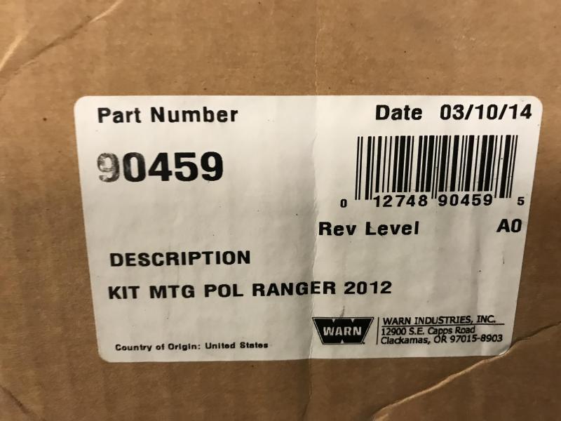 WARN WINCH MOUNT FOR POLARIS RANGER (90459) $79