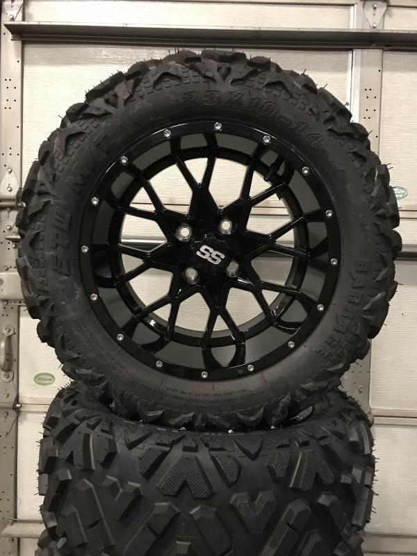 Set of 4 Golf Cart Tires on 14x7 Vortex Gloss Black Wheels $729 (0018)
