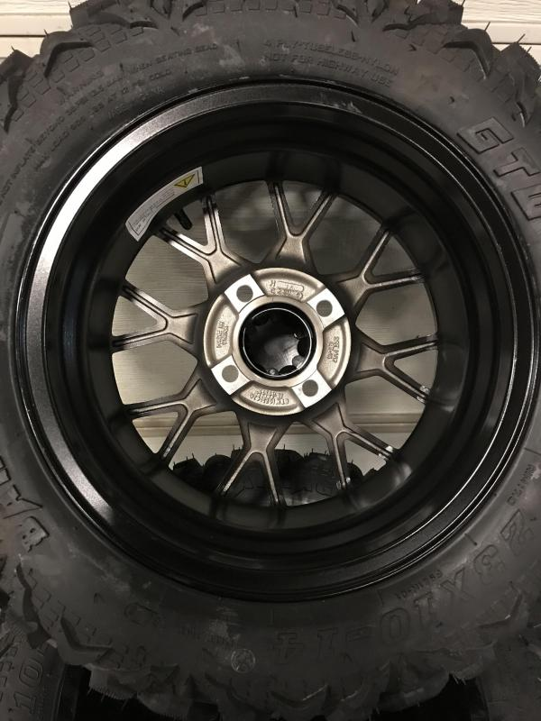 AVAILBLE TO ORDER Set of 4 Golf Cart Tires on 14x7 Vortex Gloss Black Wheels $729 (0018)