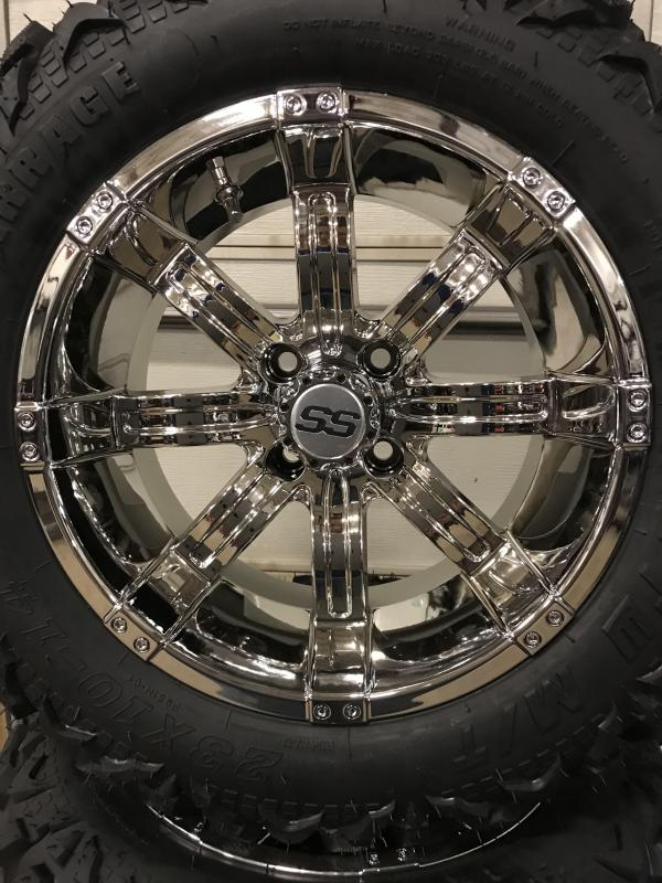 AVAILBLE TO ORDER Set of 4 GTW Golf Cart Tires on GTW 14x7 Tempest Chrome Wheels