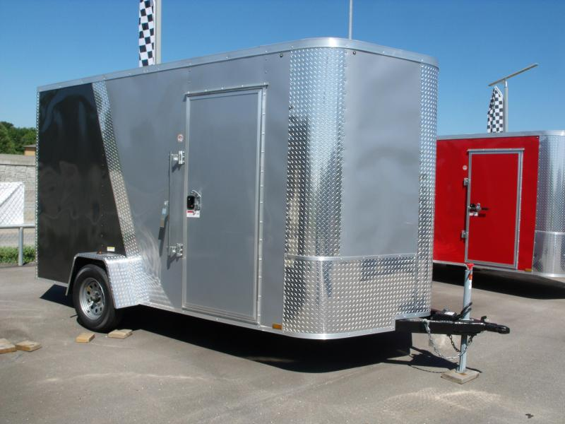 Enclosed Trailer 7 X 12 Ramp 7' Height Two Tone Color White/Med Charcoal Tube Construction