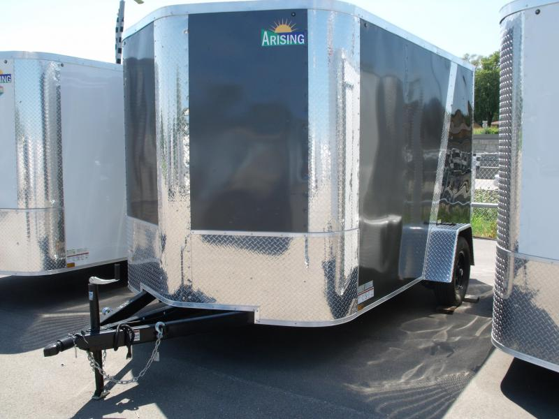 "Enclosed Trailer 7 X 10 Ramp Two Tone Charcoal/FrontAll Tube Construction 6' 6"" Interior"