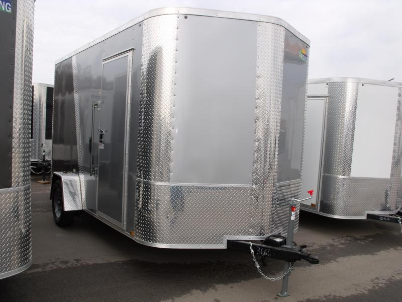Enclosed Trailer 7 X 12 Ramp 7' Height  Two Tone Color Silver Mist/Charcoal Tube Construction