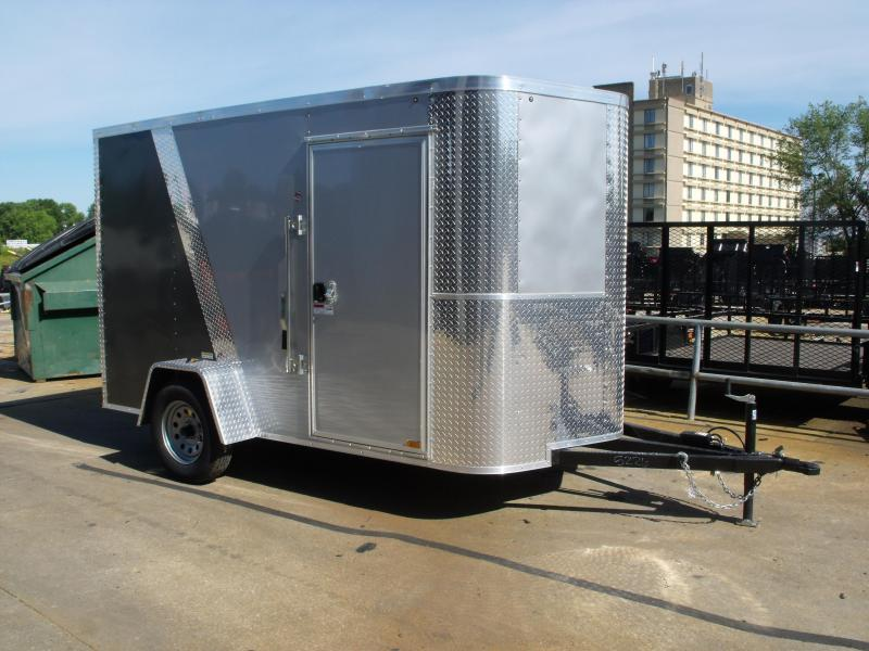 Enclosed Trailer 6 X 10 Ramp 6'  Interior Height Color Silver/Med Charcoal