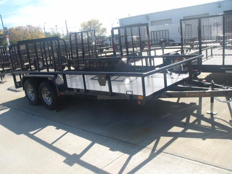 ALL Steel Utility Trailer 83 X 16 Pipe Rail Top Spring Assisted Gate