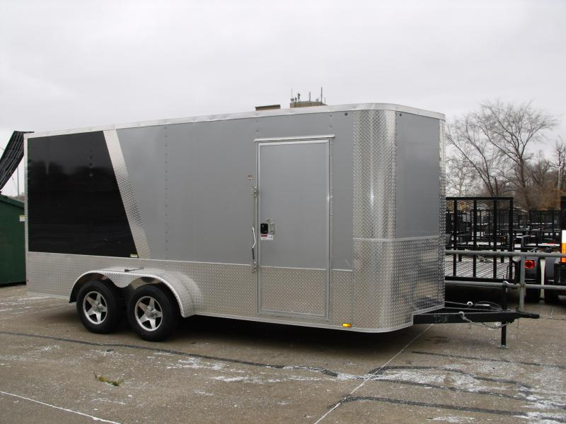 Enclosed Trailer 7 X 16 Ramp 7' Height TWO Tone SilverMist/Black 7000 GVW ALL Tube Construction 4 WL Brakes
