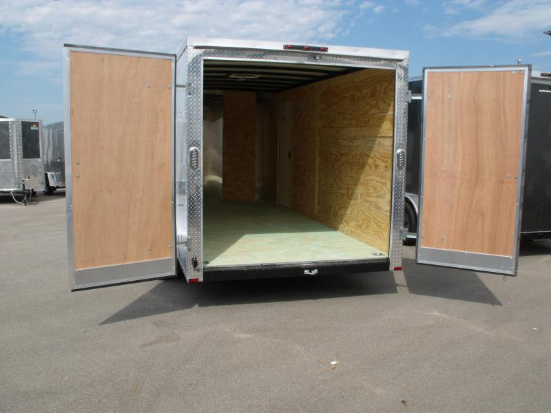 "Enclosed Trailer  BARN DOOR Soft  Nose  7 X 14  BARN DOOR  6' 6"" Tall  7000 GVW White  In Color ALL Tube Construction"