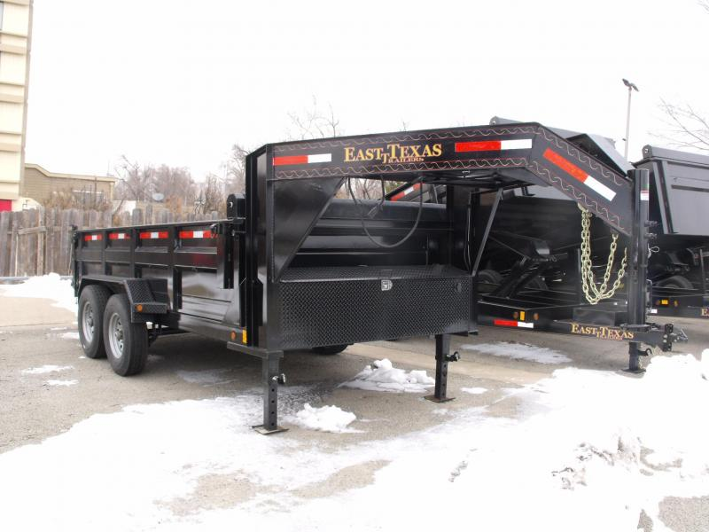 Gooseneck Dump Trailer 83 X 14    3 Way Spreader Gate 14000 GVW 2000 # Hoist Ramps