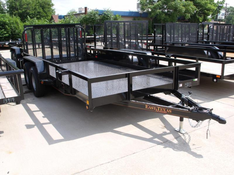 83 X 16 Dove Tail Metal Deck Utility Trailer    7000 GVW 4 WL Brakes Spring Assisted Tubular Gate
