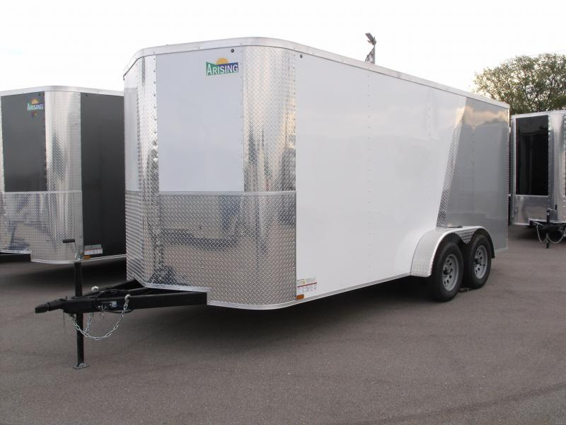 "Enclosed Trailer 7 X 16 Ramp 6' 6"" Interior Height   Color White Front/Silver Mist Rear  ALL Tube Construction"