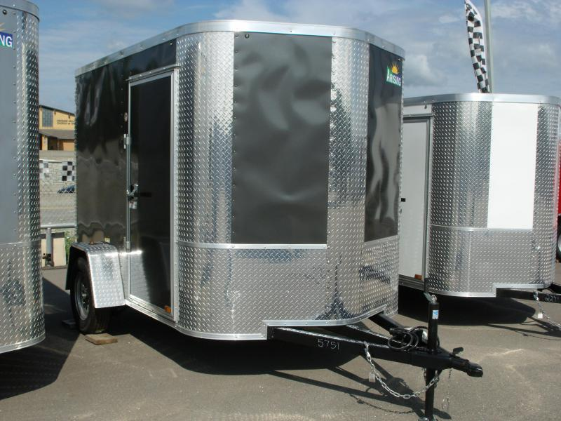"Enclosed Trailer 6 X 8 Ramp ALL Tubular Construction 6' 3"" Interior Height  Charcoal In Color"