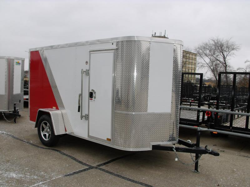 "Enclosed Trailer 5 X 10 Ramp 5' 6"" Interior Height Two Tone Color White/Red  (((Cash Savings Here)))"