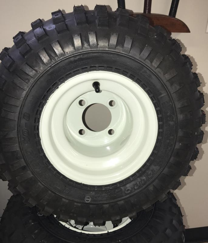 Dura Tire and White Steel Wheel