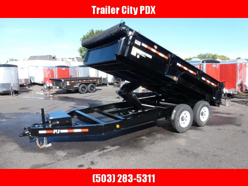 PJ Trailers 7x14 Low Pro Dump (DL) w/ Tarp, Ramps