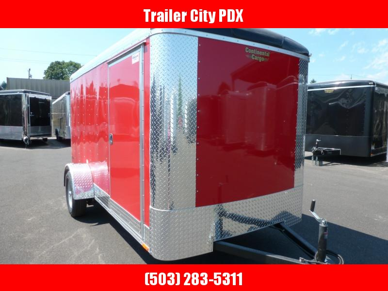 2020 Continental Cargo 6X12 3K RAMP RED Enclosed Cargo Trailer