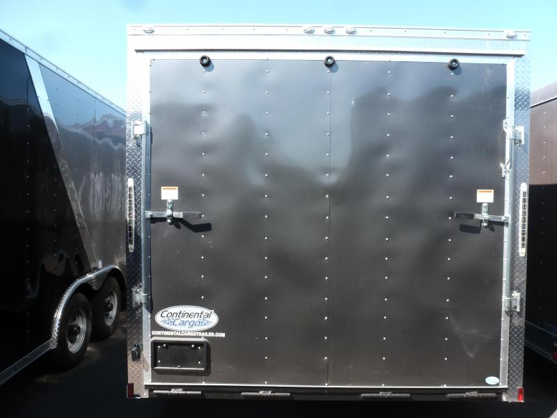 Continental Cargo 8.5 X 24 10K V-SERIES TALL RAMP CHARCOAL Enclosed