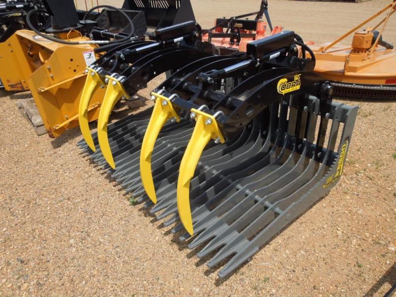 "New MDS Cobra 72"" Skid Steer Brush Bucket w/Grapple"
