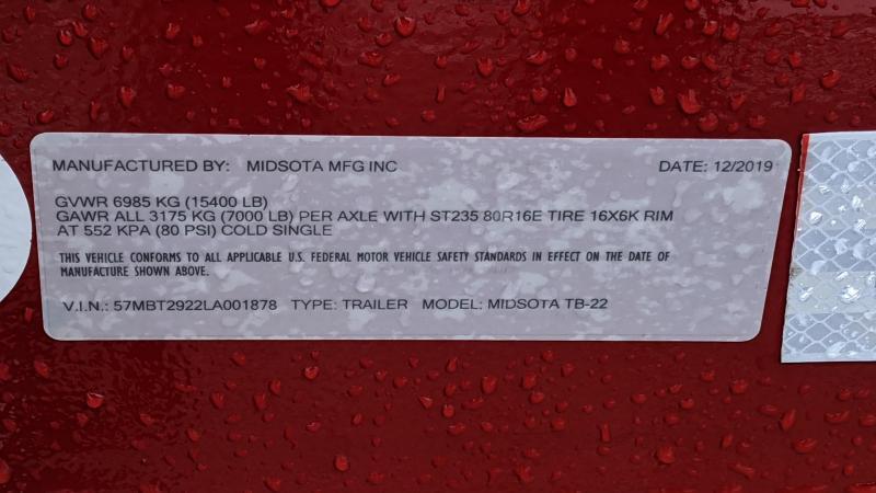 2020 Midsota TB-22 Tilt Flatbed Trailer