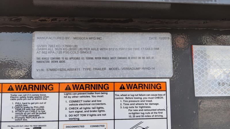 2020 Midsota HEAVY DUTY DUMP HVHD VERSA DUMP 83X 14 Dump Trailer