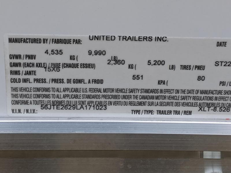 2020 United Trailers XLT 8.5X26TA52 Car / Racing Trailer