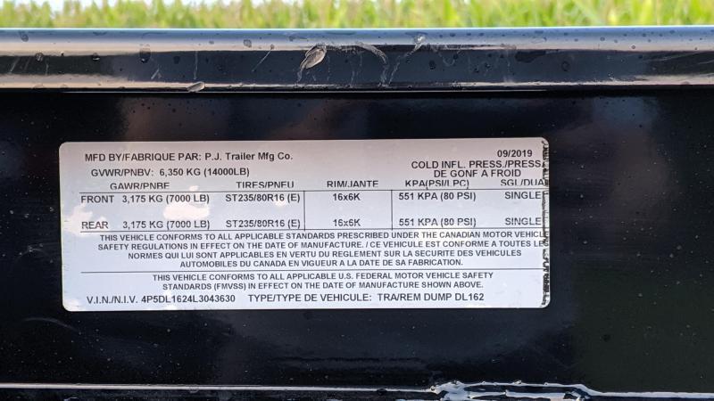 2020 PJ Trailers 83 X16 Low Pro Dump (DL) Dump Trailer