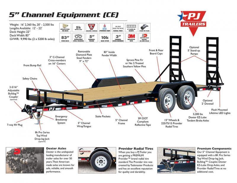 2018 PJ Trailers 5 in. Channel Equipment (CE) Equipment Trailer